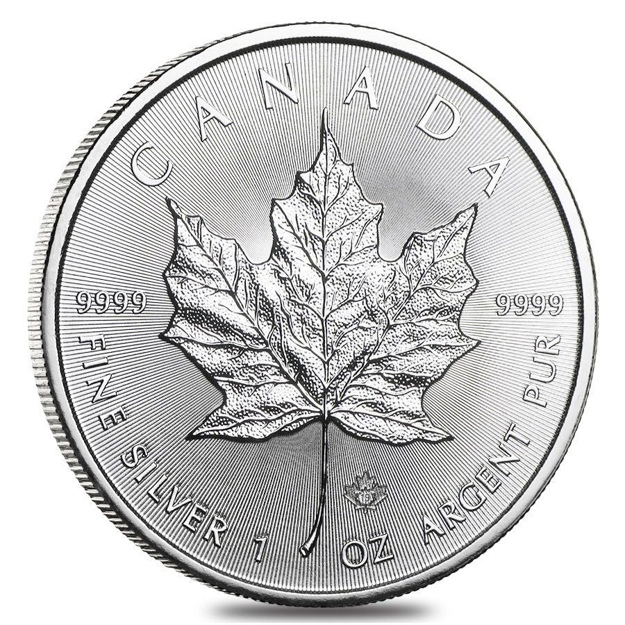 Lot Of 100 2019 1 Oz Silver Canadian Maple Leaf 9999 Fine 5 Coin