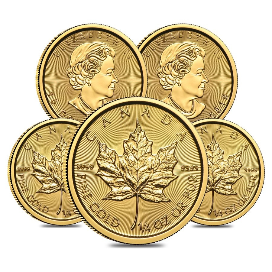 Lot Of 5 2019 1 4 Oz Canadian Gold Maple Leaf 10 Coin
