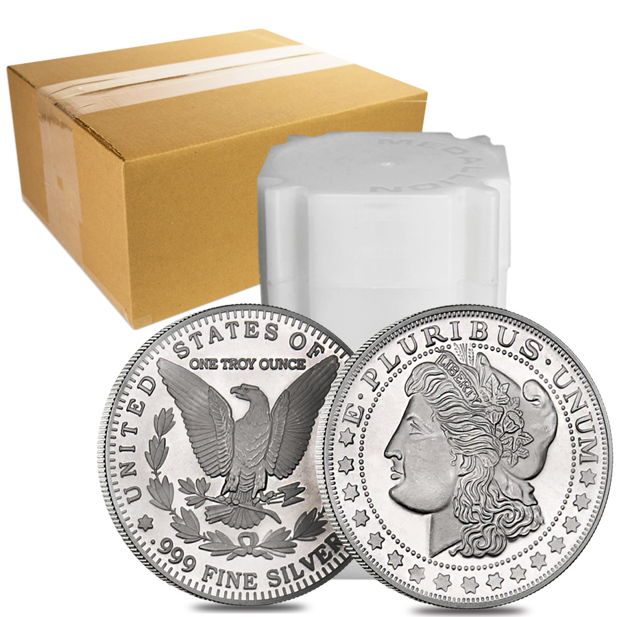 Roll of 20 - 1 oz Morgan Silver Round .999 Silver (Lot,Tube of 20)