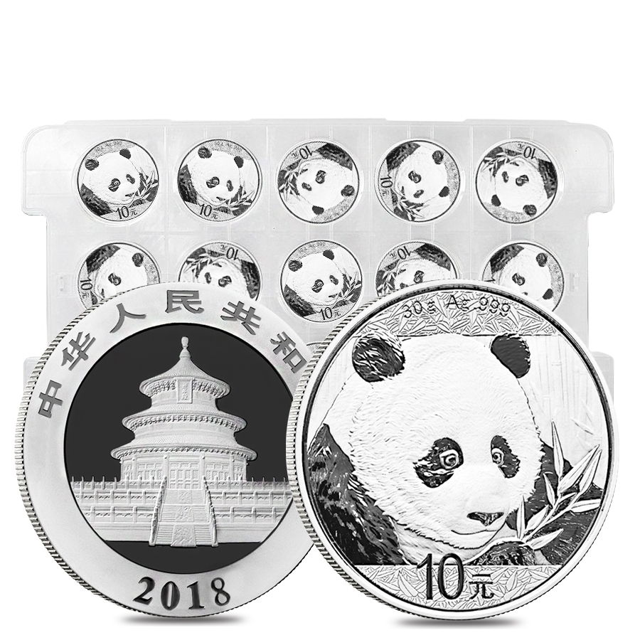 Sheet of 15 - 2018 30 gram Chinese Silver Panda 10 Yuan .999 Fine BU (Lot,Roll of 15)