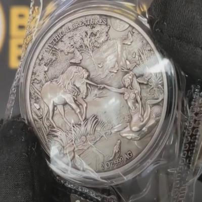 Silver Mermaid & Unicorn Coin - Mythical Creatures Series Antiqued High Relief Silver Coin Unboxing
